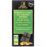 Moulin des Moines - Chocolat Noir 74% Amandes - 100g Bio