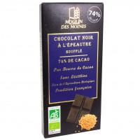 Chocolat Noir 74% à l'épeautre Soufflé Bio 100g