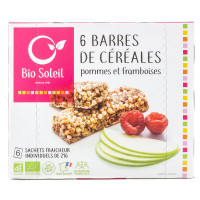 Bio Soleil - 6 Barres de Céréales Pommes Framboises 125g - Bio