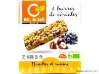 BIO SOLEIL Barres de céréales noisettes & raisins 126g