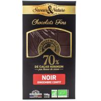 SAVEUR&NATURE Chocolat noir 70% gingembre confit 100g