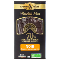 SAVEUR&NATURE Chocolat noir 70% écorces d'oranges 100g