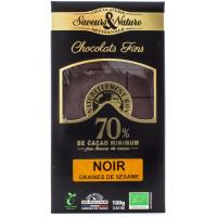 SAVEUR&NATURE Chocolat noir 70% graines de sésame 100g