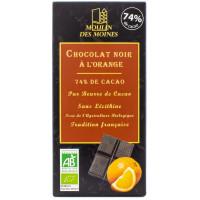MOULIN DES MOINES Chocolat noir 74% à l'orange 100g