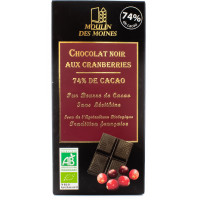 Tablette de Chocolat Noir 74% aux Cranberries - 100g