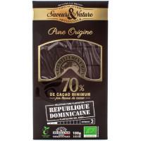 SAVEUR&NATURE Chocolat noir République Dominicaine 70% 100g