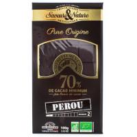 SAVEUR&NATURE Chocolat noir du Pérou 70% 100g