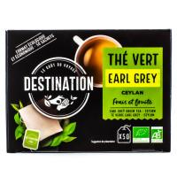 Destination - Thé vert Earl Grey Ceylan 50 sachets - Bio