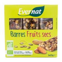 EVERNAT Barres de fruits secs 3x25g