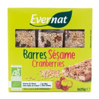 EVERNAT Barres au sésame et cranberries 3x25g