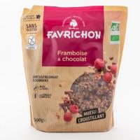 Favrichon - Céréales Müesli Framboise Chocolat 500g - Bio