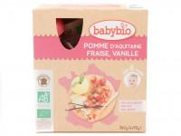 BABYBIO Gourdes pomme fraise vanille 4x90g Bio