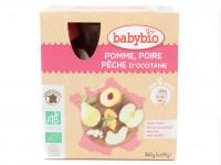 BABYBIO Gourdes pomme poire pêche 4x90g Bio