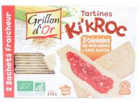 GRILLON D'OR Tartines Ki'Kroc 3 céréales sans gluten 270g Bio