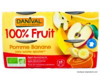 DANIVAL Compote pomme banane 4x100g