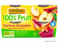DANIVAL Compote pomme rhubarbe 4x100g