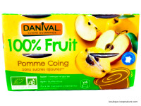 DANIVAL Compote pomme coing 4x100g