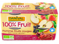 DANIVAL Compote pomme fruits rouges 4x100g