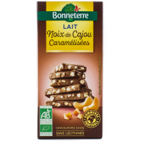 BONNETERRE Chocolat au lait noix de cajou caramélisées 85g