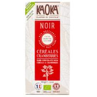 KAOKA Chocolat noir cranberries & céréales 100g