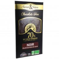 Chocolat Noir 70% éclats de Fèves de Cacao Bio 100g
